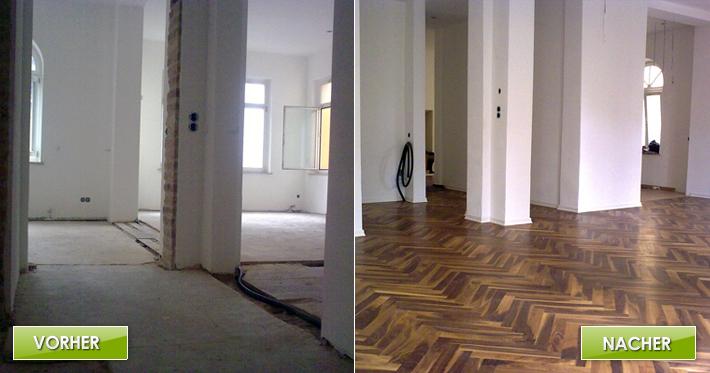 Holzboden auf Trockenestrich / Schiffsparkett